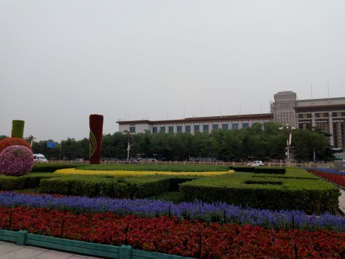 Flowers in full bloom at Tienanmen Square, Beijing, June 18