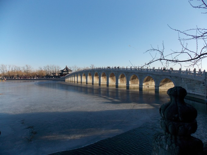 Beautiful marble bridge in the Summer Palace