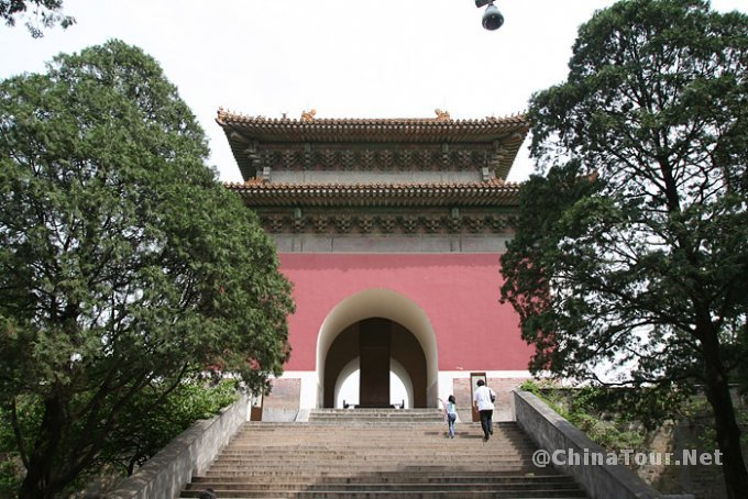 Rear of the Minglou tower. It is likely that the staircase seen in the foreground is a modern addition to allow tourists easy access to the tower after exiting the underground palace.