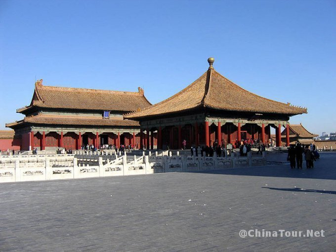 the hall of central harmony foreground and the hall of preserving harmony