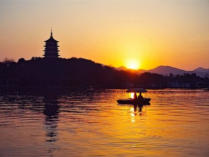 Leifeng Pagoda in the Sunset, West Lake
