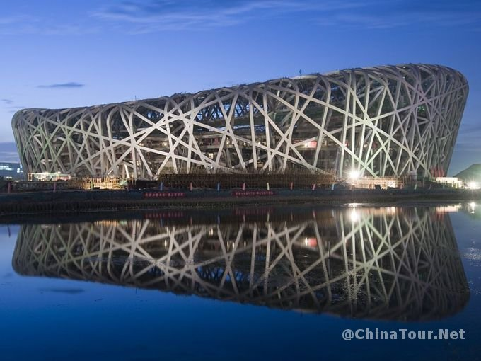 The exterior nightview of the National Stadium (Bird's Nest)
